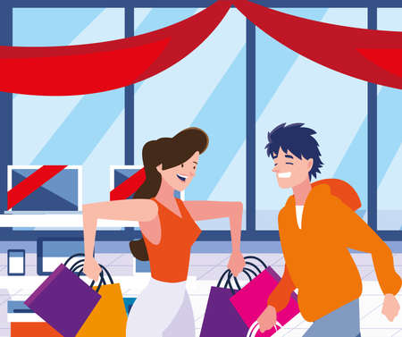 Black fridays shop design, sale offer discount holiday promotion cheap and commerce theme Vector illustration Imagens - 139953091