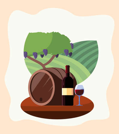 Wine bottle barrel and cup in front of grapes tree design, Winery alcohol drink beverage restaurant and celebration theme Vector illustration