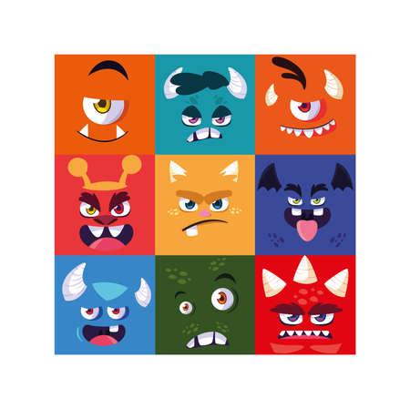 set of colorful alien monsters vector illustration design