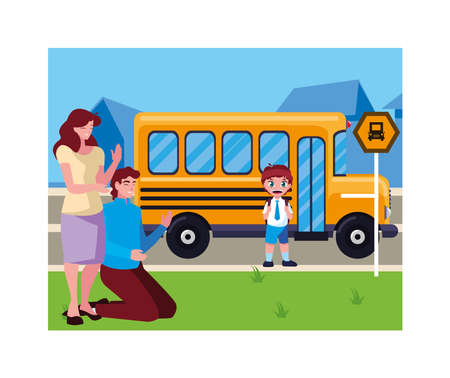 parents with her student son back to school vector illustration design