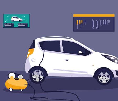 Car in repair garage design, Automobile auto transportation vehicle transport wheel automotive and speed theme Vector illustration