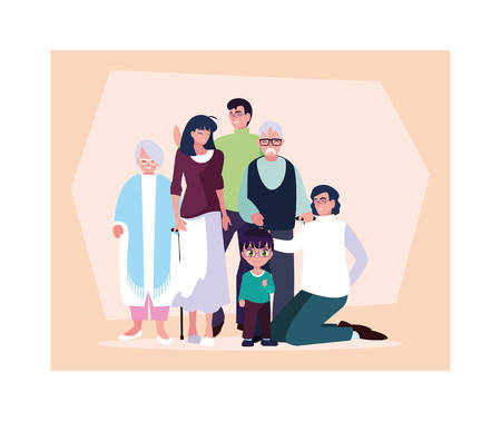 big family together, three generations grandparents, parents and children of different age together vector illustration design Ilustracja