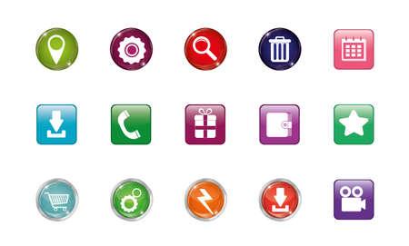 Icon set design, Digital marketing ecommerce shopping online strategy media and seo theme Vector illustration Ilustração