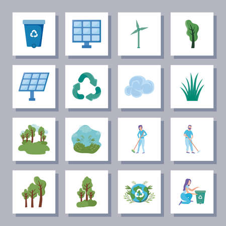 set of icons renewable energy on white background vector illustration design