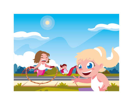 girls smiling and playing with skipping rope vector illustration design Ilustracja