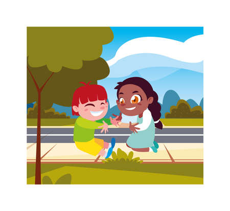 Boy and girl cartoon playing outside design, Kid childhood little people lifestyle and person theme Vector illustration Ilustracja
