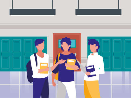 Boys students in front of school lockers design, Eduaction class lesson knowledge preschooler study learning and primary theme Vector illustration Ilustracja