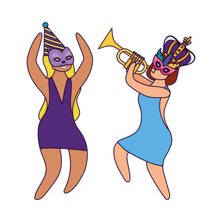 Women with mardi gras mask hat crown and trumpet design, Party carnival decoration celebration festival holiday fun new orleans and traditional theme Vector illustration