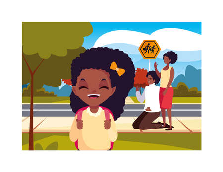 parents with her student daughter back to school vector illustration design