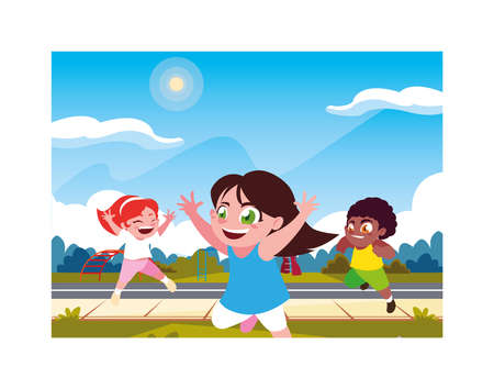 scene children playing in the city park vector illustration design
