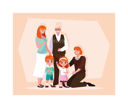 big family together, three generations grandparents, parents and children of different age together vector illustration design Vectores