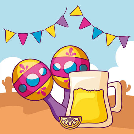 beer with maracas and garlands vector illustration design Ilustracja
