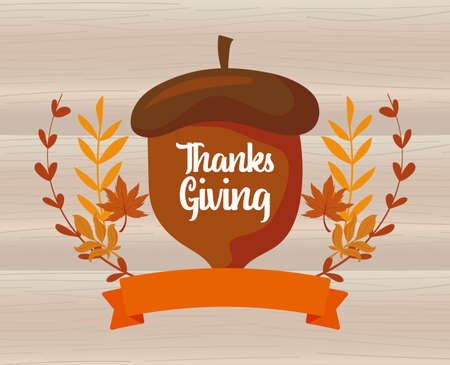 Acorn and leaves of thanksgiving day design, Autumn season holiday greeting and traditional theme Vector illustration