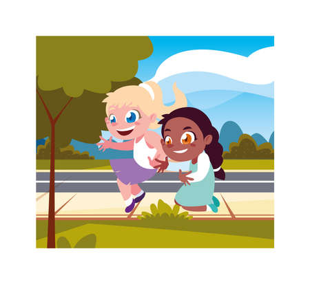 Girls cartoons playing outside design, Kid childhood little people lifestyle and person theme Vector illustration Ilustracja