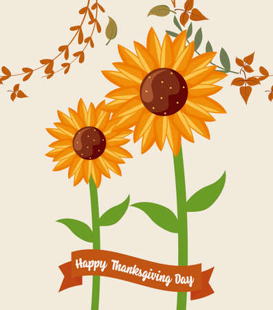 Sunflower and leaves of thanksgiving day design, Autumn season holiday greeting and traditional theme Vector illustration 일러스트