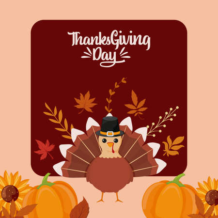 Turkey pumpkins and leaves of thanksgiving day design, Autumn season holiday greeting and traditional theme Vector illustration