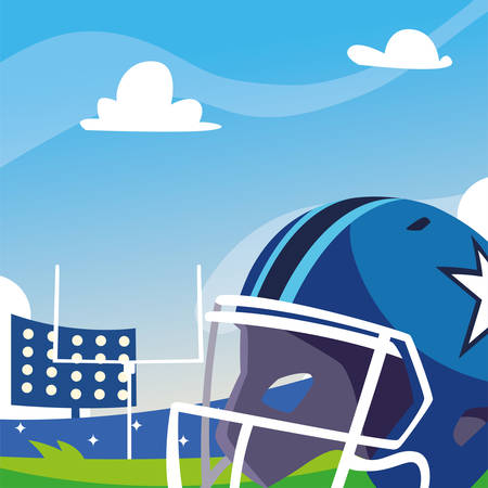Helmet in front of granstand design, Super bowl american football sport hobby competition game training equipment tournement and play theme Vector illustration