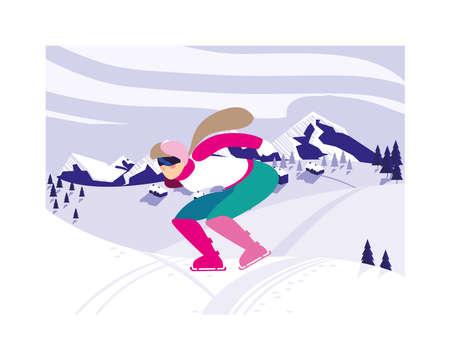 woman skating on ice rink, winter sport vector illustration design 일러스트