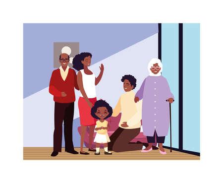 big family together in living room, three generations vector illustration design Stock Illustratie