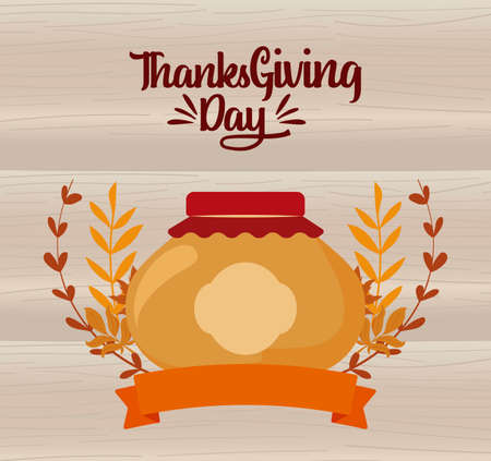 Jar and leaves of thanksgiving day design, Autumn season holiday greeting and traditional theme Vector illustration