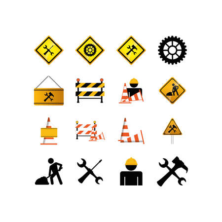 Icon set design of Construction working maintenance workshop repairing progress labor and industrial theme Vector illustration