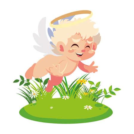 cute cupid angel , valentines day vector illustration design