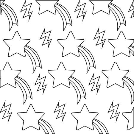 pattern of thunderbolts and shooting stars vector illustration design Ilustração