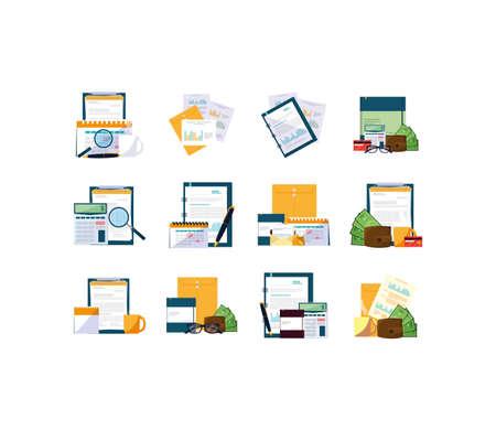 Conception de jeu d'icônes d'affaires, élément financier de la main-d'œuvre de la gestion, technologie de réussite des investissements d'entreprise et thème de l'emploi Illustration vectorielle