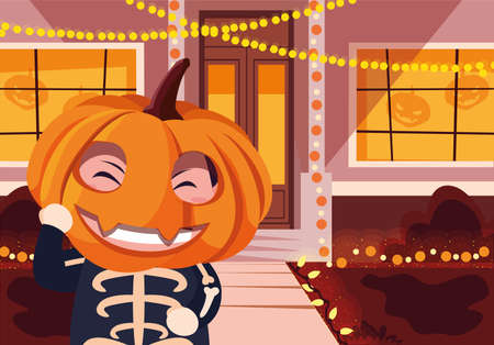 costumed child design, Halloween holiday horror scary celebration autumn dark and party theme Vector illustration