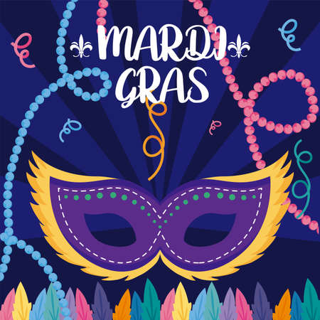 Mardi gras mask with necklaces design, Party carnival decoration celebration festival holiday fun new orleans and traditional theme Vector illustration