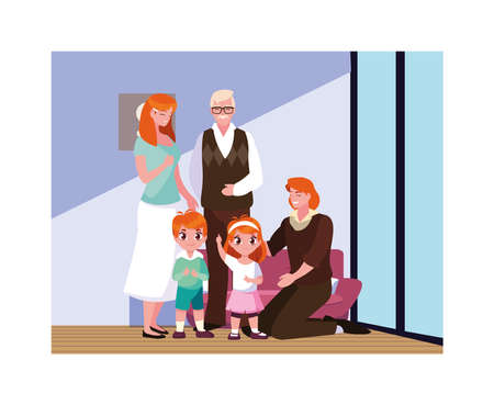 big family together in living room, three generations vector illustration design Ilustracja
