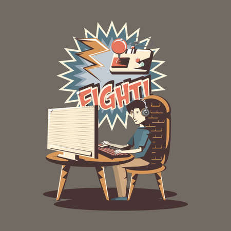 retro videogame design with man playing videogames on computer over brown background, colorful design. vector illustration
