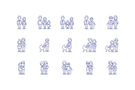 Cartoons icon set design, Family relationship generation lifestyle person character friendship and portrait theme Vector illustration