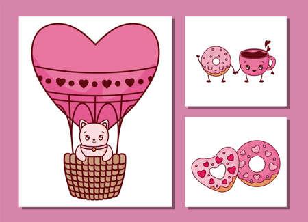 Icon set design of love valentines day passion romantic wedding decoration and marriage theme Vector illustration Ilustracja