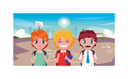 scene of boys smiling in park, back to school vector illustration design Ilustracja