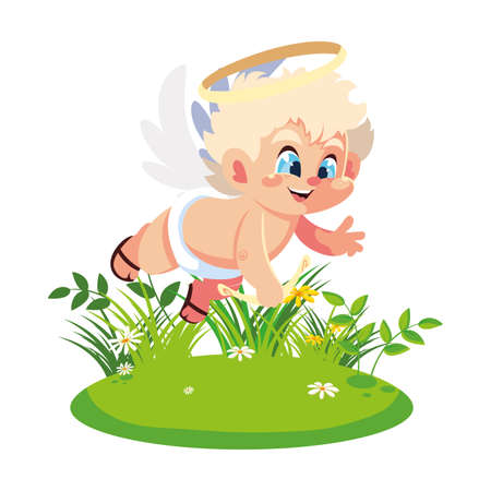 cupid angel aiming an arrow on white background, valentines day vector illustration design Ilustracja