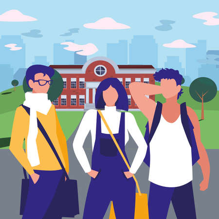 Girl and boys students in front of school building design, Eduaction class lesson knowledge preschooler study learning and primary theme Vector illustration Ilustracja