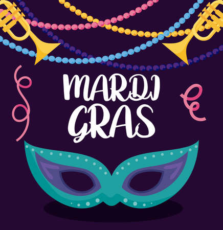 Mardi gras mask with trumpets design, Party carnival decoration celebration festival holiday fun new orleans and traditional theme Vector illustration Stock Illustratie