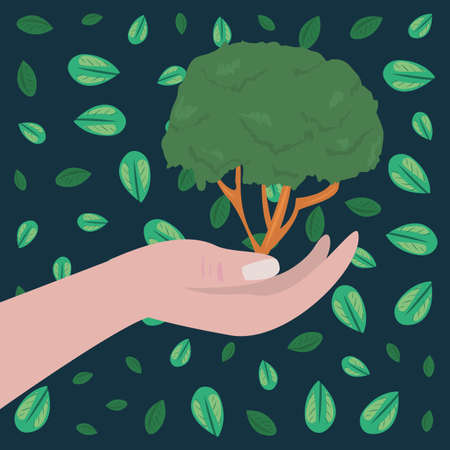 hand holding tree natural leaves earth day vector illustration Ilustracja