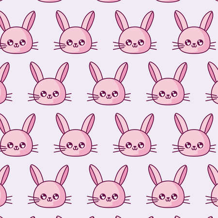 rabbits cartoons background design, Kawaii expression cute character funny and emoticon theme Vector illustration