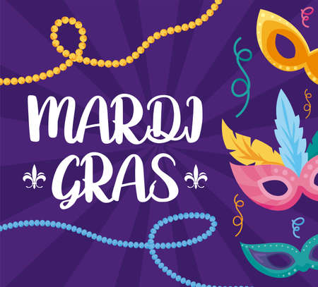 Mardi gras masks and necklaces design, Party carnival decoration celebration festival holiday fun new orleans and traditional theme Vector illustration