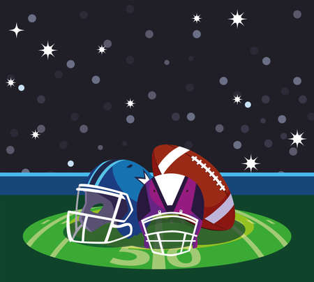 Helmets and ball in front of granstand design, Super bowl american football sport hobby competition game training equipment tournement and play theme Vector illustration