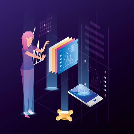 businesswoman with data center network icons vector illustration design