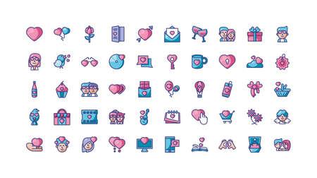 Icon set design of Love valentines day wedding passion romantic decoration and marriage theme Vector illustration Ilustracja