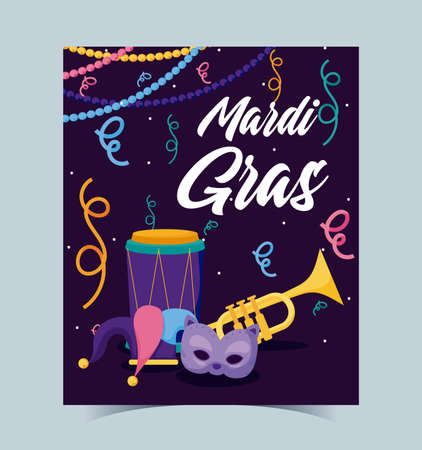 Mardi gras mask hat trumpet and drum design, Party carnival decoration celebration festival holiday fun new orleans and traditional theme Vector illustration