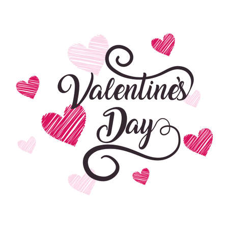 Pink hearts design of Happy valentines day love passion romantic wedding decoration and marriage theme Vector illustration