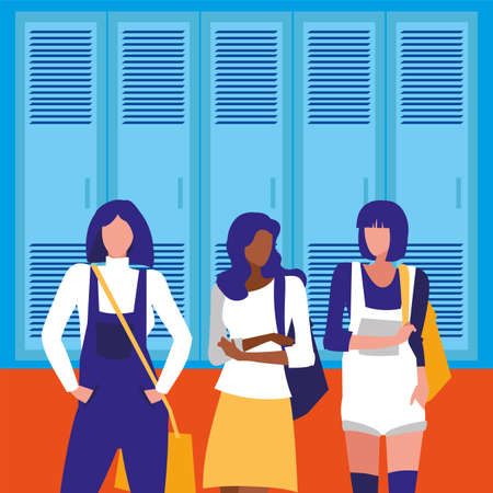 Girls students in front of school lockers design, Eduaction class lesson knowledge preschooler study learning and primary theme Vector illustration Ilustracja