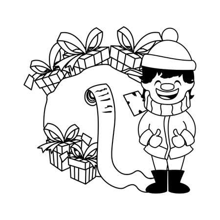 kid cartoon design, Merry christmas season decoration card invitation celebration and holiday theme Vector illustration
