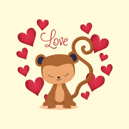 Hearts and monkey cartoon design of love passion romantic valentines day wedding decoration and marriage theme Vector illustration