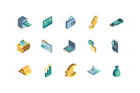 Icon set of Money financial item banking commerce market payment buy currency accounting and invest theme Vector illustration Ilustracja